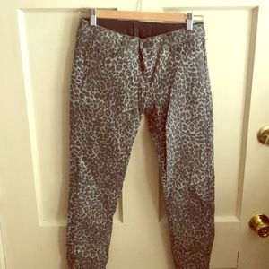 Reversible Leopard / Faux Leather Jeans